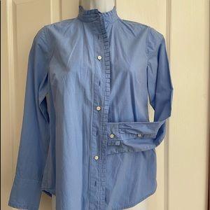 JCrew classic button shirt with ruffle detail